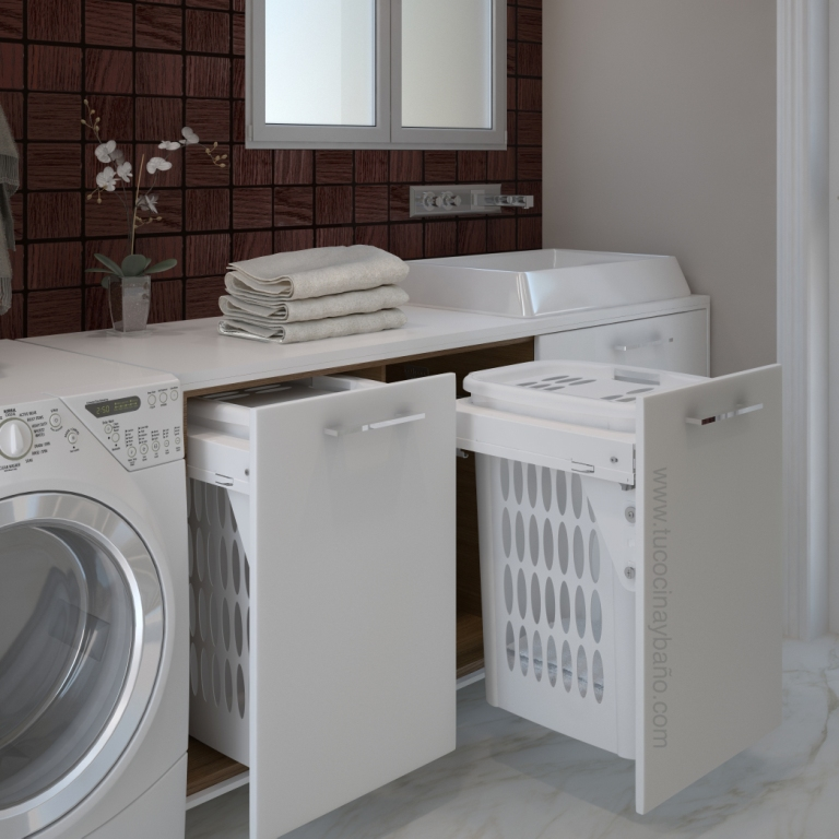 Laundry area tu cocina y ba o - Mueble lavadora secadora ...