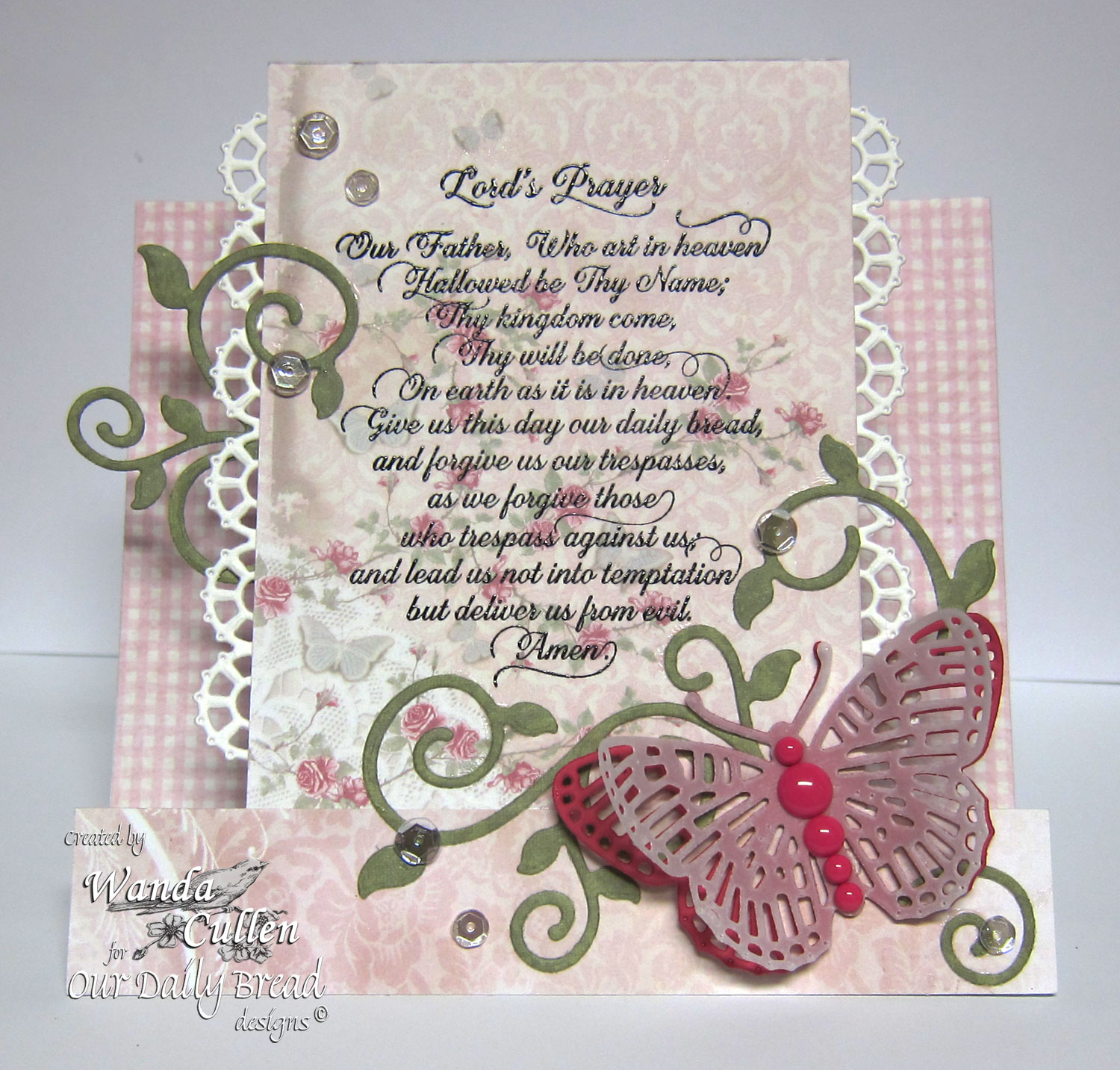 Stamps - Our Daily Bread Designs Lord's Prayer Script, ODBD Custom Dies: Layered Lacey Squares, Fancy Fritillary, Fancy Foliage, ODBD Shabby Rose Paper Collection, ODBD Fun and Fancy Fold - Center Step
