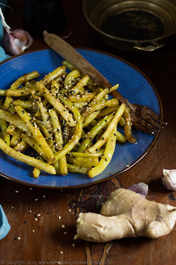 fasolka szparagowa smażona z sezamem