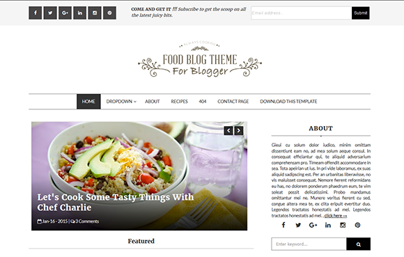 Food blog btemplates food blog is a powerful blogging theme that can be utilized by anyone quickly change the sites style with a new background and widgets forumfinder Image collections