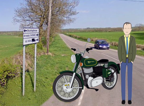Cartoon figure alongside road sign.