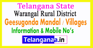 Geesugonda Mandal Villages in Warangal Rural District Telangana