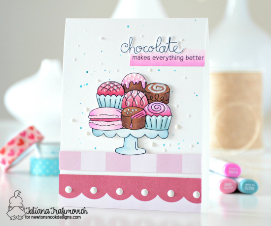 Chocolates on treat Stand   Card by Tatiana Trafimovich   Love & Chocolate stamp set by Newton's Nook Designs #newtonsnook