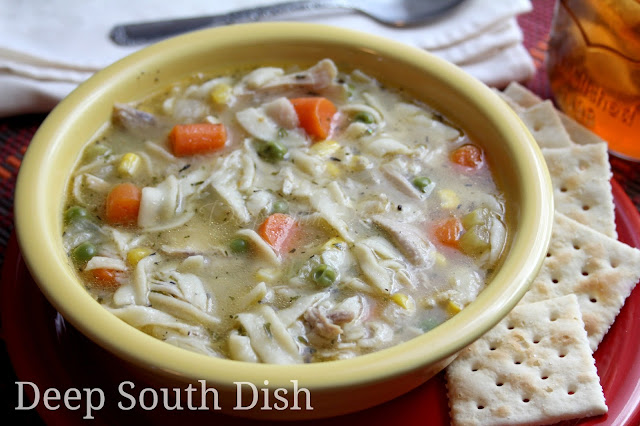 Homemade chicken noodle soup, made from a whole chicken in an electronic pressure cooker.