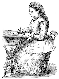 Vintage black and white drawing of a young woman in a simple Victorian dress and boots sitting at a desk writing.