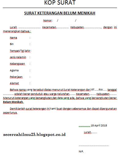 Contoh Format Surat Keterangan Belum Menikah Secercah Ilmu