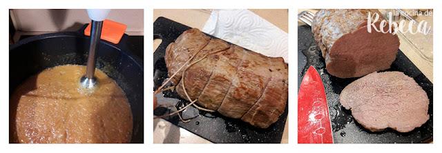 Receta de redondo de ternera asado: la salsa y los filetes