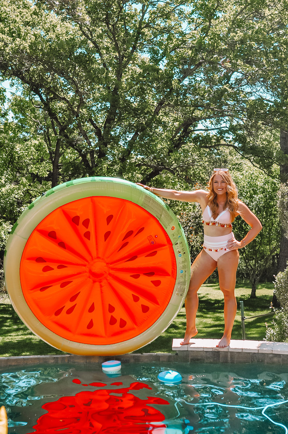 Oklahoma Blogger Amanda Martin shows off her Intex Watermelon Pool Float
