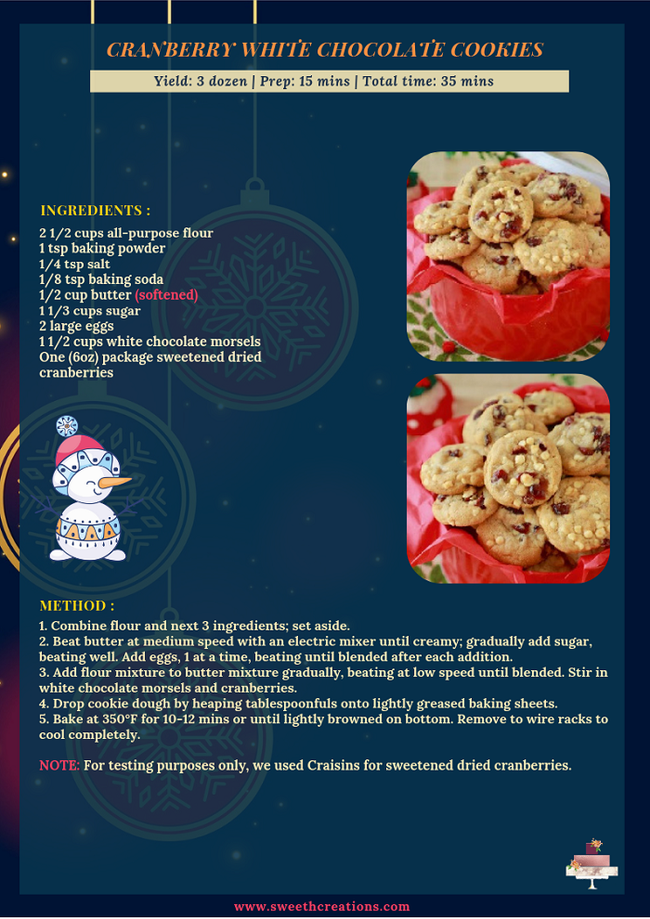 CRANBERRY WHITE CHOCOLATE COOKIES RECIPE