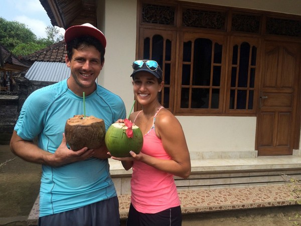 sipping coconut water in Bali