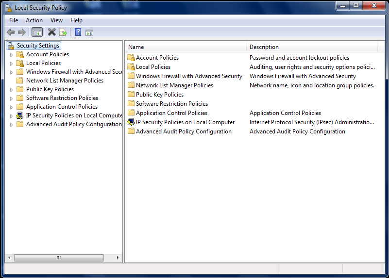 Local Security Policy Windows 8 Home