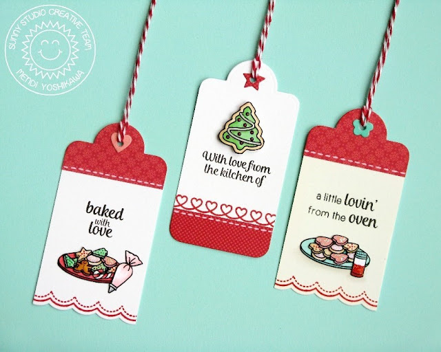 Sunny Studio Stamps: Crescent Tag Toppers Holiday Gift Tags by Mendi Yoshikawa (with Blissful Baking & Christmas Icons stamps)