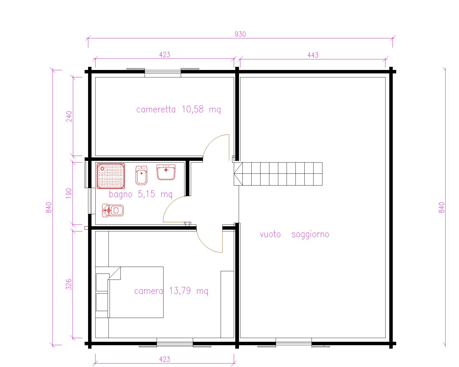 Progetti di case in legno casa 116 mq portico 33 mq for Progetto casa 40 mq