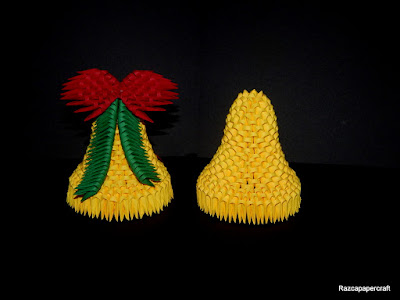 3D origami Christmas bell made from paper