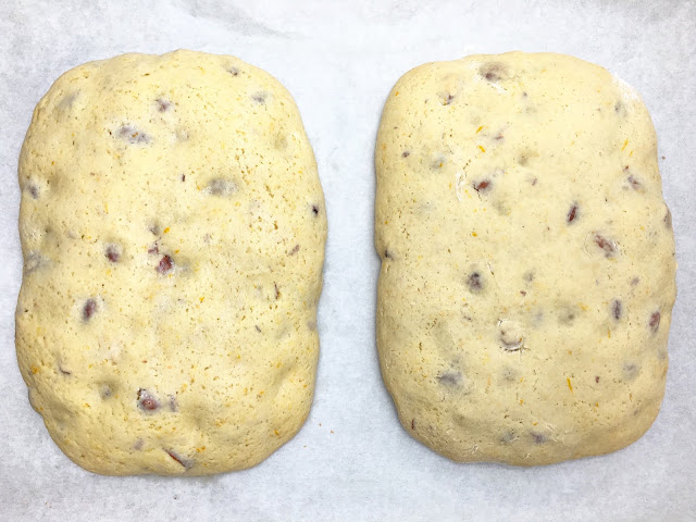 Baked Loaves of Orange Almond Biscotti