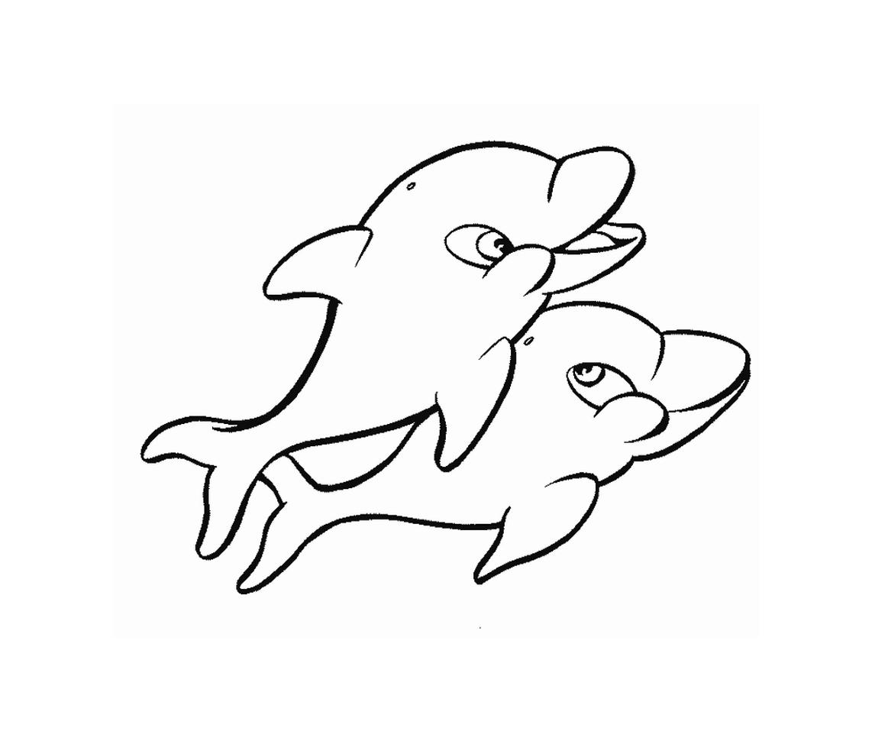 Tranh tô màu hai chú cá heo cùng chơi đùa