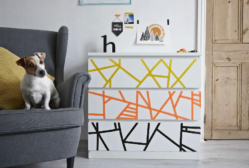 nuovo look alla cassettiera MALM di IKEA