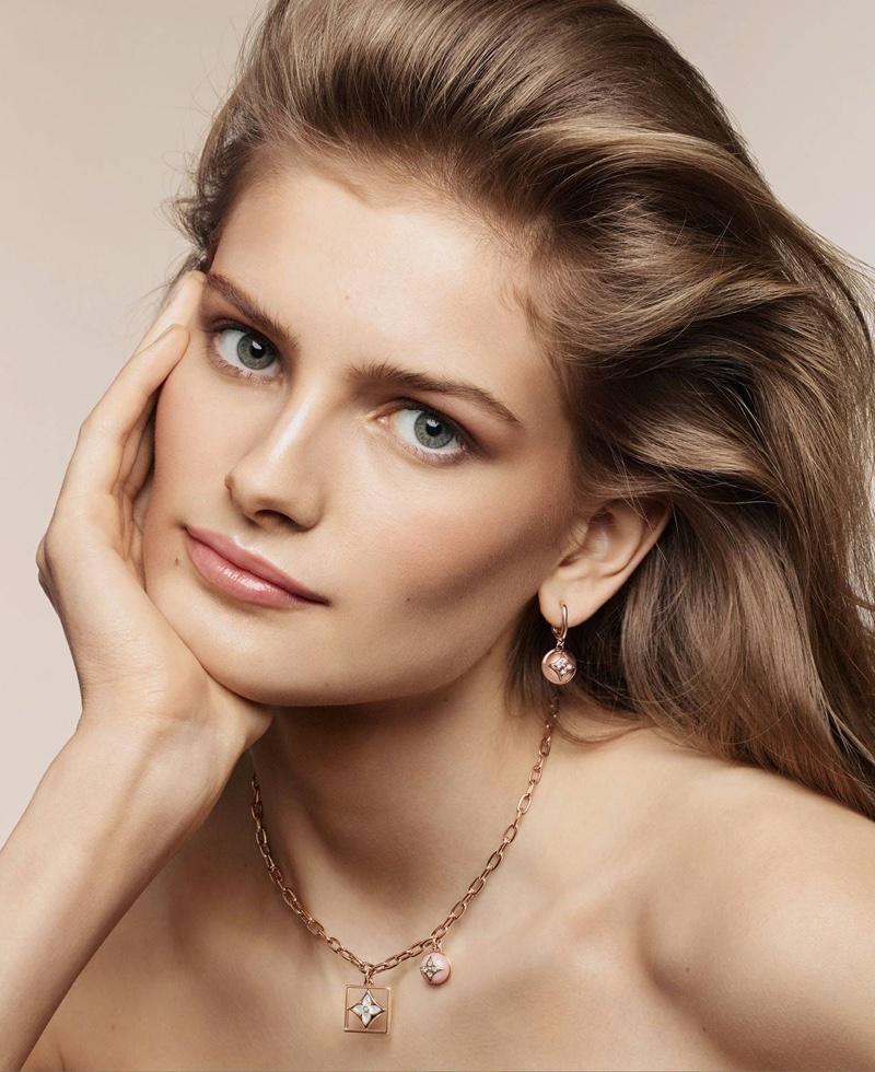 Model Signe Veiteberg appears in Louis Vuitton B. Blossom fine jewelry campaign