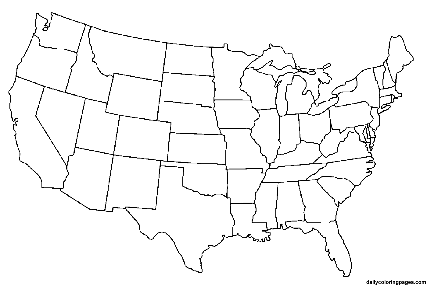 Blank Copy Of The United States Map