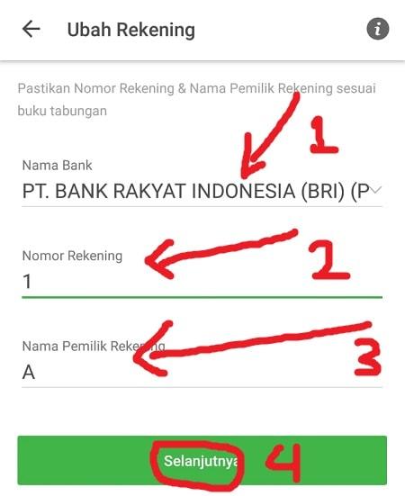 Masukkan Informasi Rekening Bank Baru (Tokopedia)