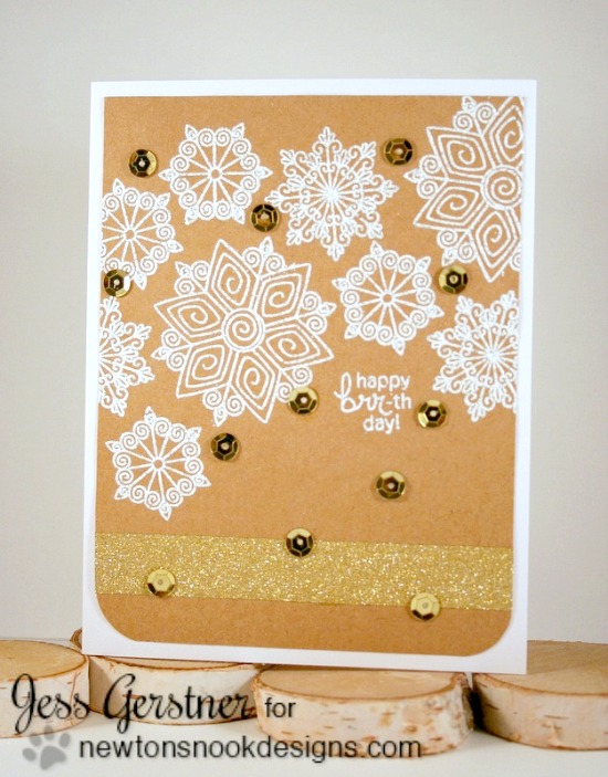 Snowflake embossed card by Jess Gerstner | Beautiful Blizzard stamp set by Newton's Nook Designs #newtonsnook