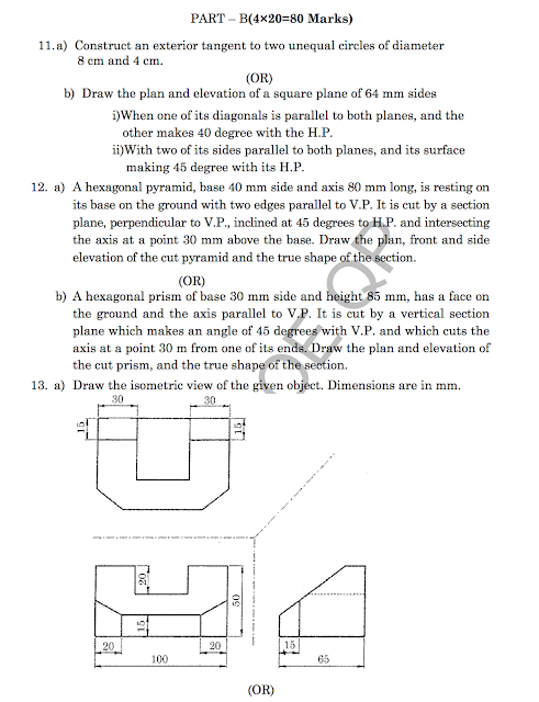 AR8121: Architectural Drawing-I Question Papers 2018 [Model]