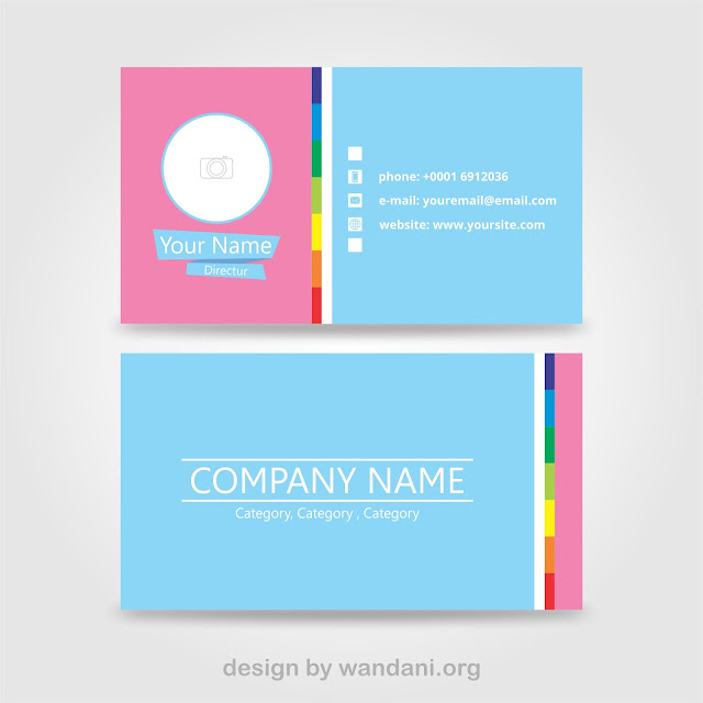 Name Card Profesional, Blue and Pink - Free Vector