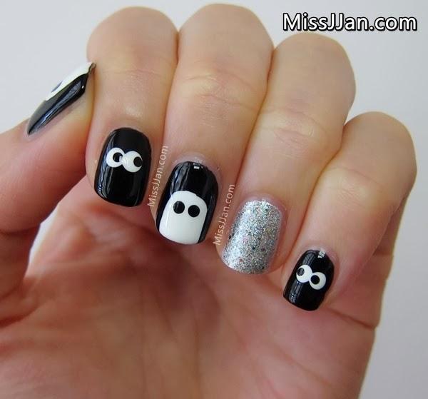 Missjjan39s Beauty Blog Spooky Eyes Nail Art Short