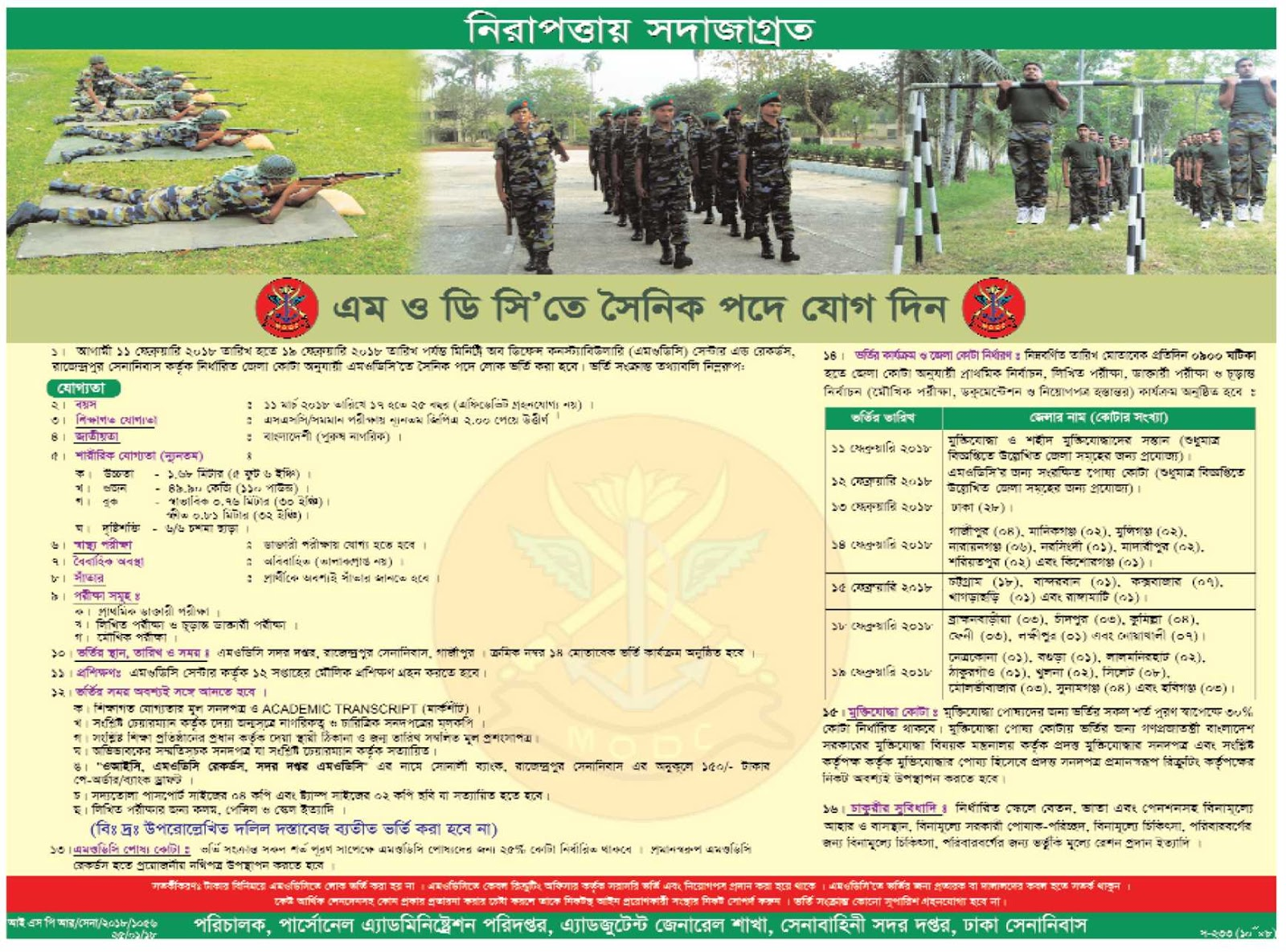 Ministry of Defense Constabulary (MODC) Soldier (সৈনিক)  Recruitment Circular 2018