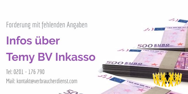 Titelbild: Temy BV Inkasso – Zahlungsaufforderung mit fehlenden Angaben