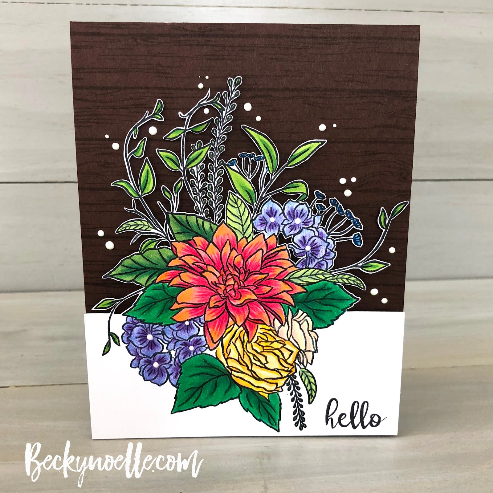 Pretty flowers life outside the lines by beckynoelle i stamped the floral bouquet on a piece of neenah cardstock and colored everything with copics and then added some more details and shading with color mightylinksfo