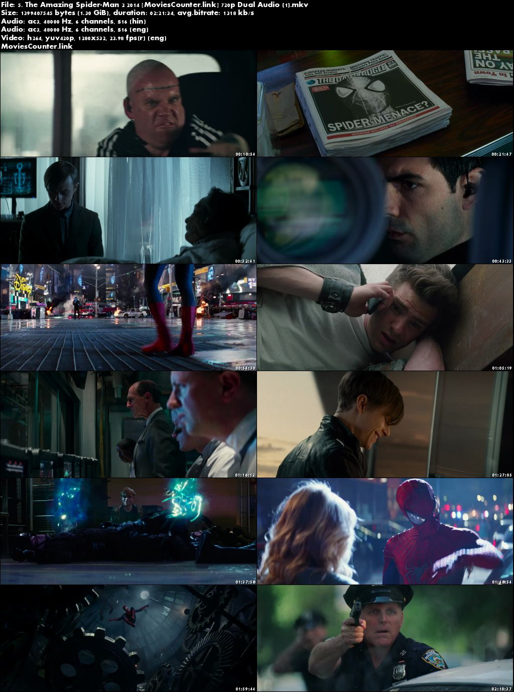 Screen Shot The Amazing Spider-Man 2 2014 Dual Audio HD 720p