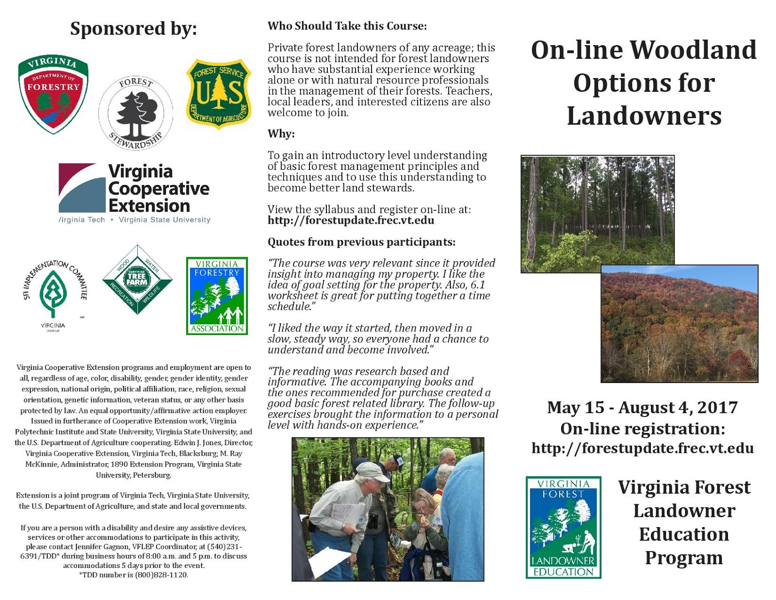Online Course Offered By The Virginia Forest Landowner Education Program To  Learn About Managing Your Woodland! U2013 May 15 U2013 August 4