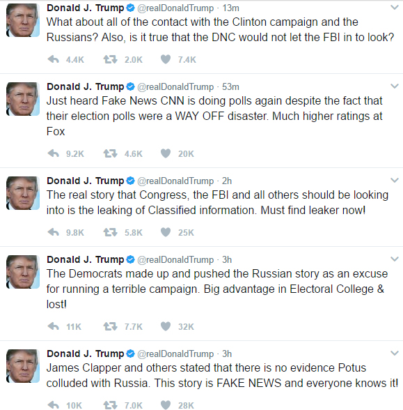 series of tweets posted by Trump reading: 1. James Clapper and others stated that there is no evidence Potus colluded with Russia. This story is FAKE NEWS and everyone knows it! 2. The Democrats made up and pushed the Russian story as an excuse for running a terrible campaign. Big advantage in Electoral College & lost! 3. The real story that Congress, the FBI and all others should be looking into is the leaking of Classified information. Must find leaker now! 4. Just heard Fake News CNN is doing polls again despite the fact that their election polls were a WAY OFF disaster. Much higher ratings at Fox 5. What about all of the contact with the Clinton campaign and the Russians? Also, is it true that the DNC would not let the FBI in to look?