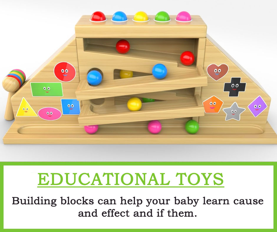 Educational Toys : Building blocks can help your baby learn cause and effect and if them.