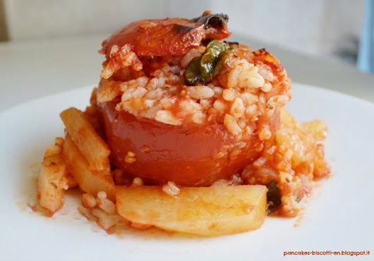 Rice Stuffed Tomatoes with Potatoes