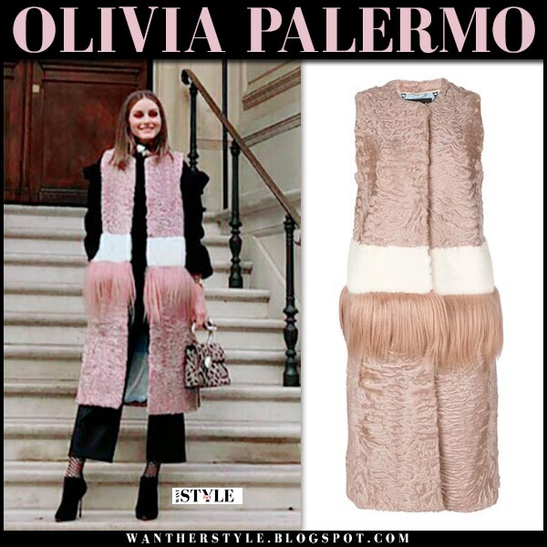 Olivia Palermo in pink fur sleeveless coat cara mila dixie winter luxe style december 18