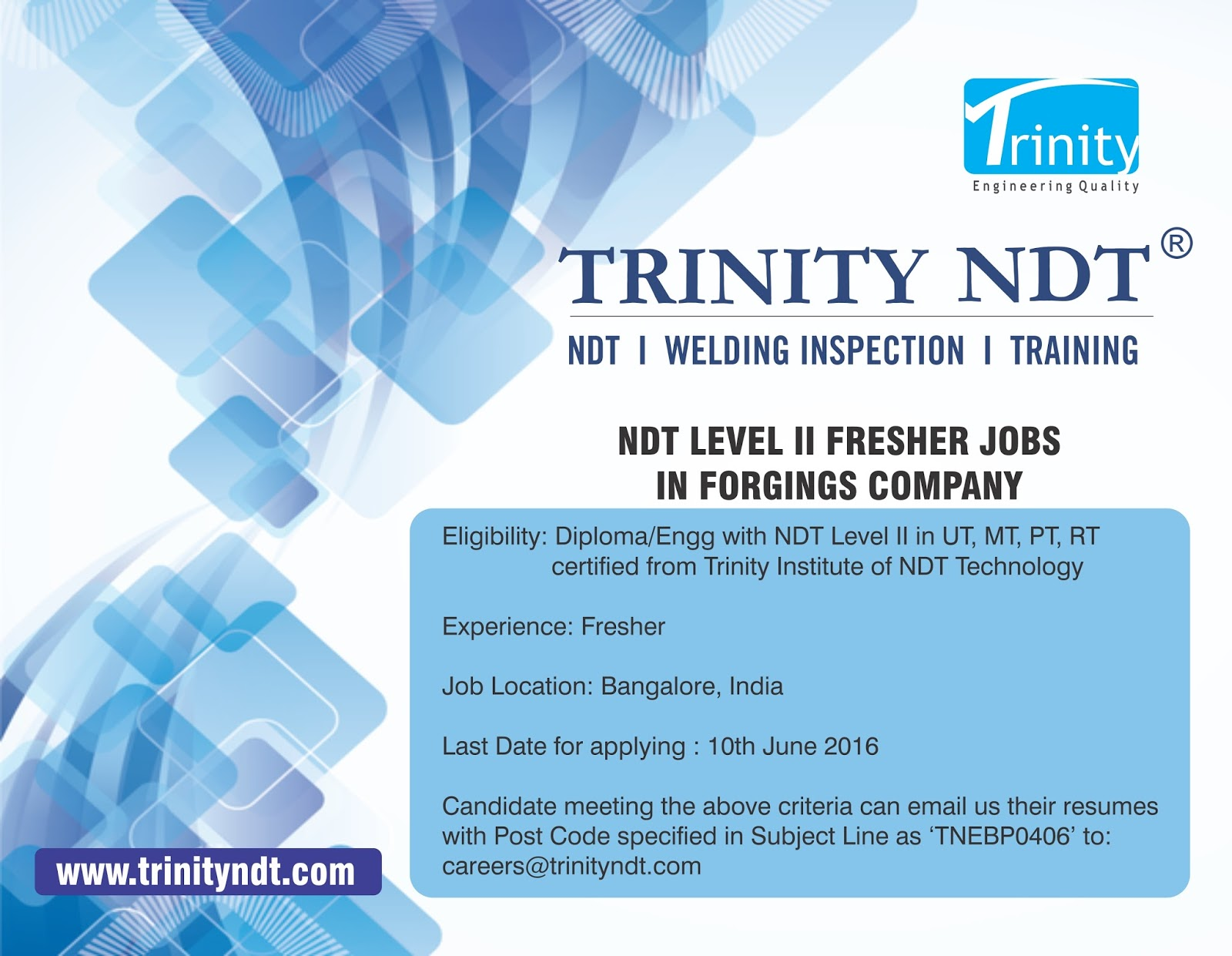 Nabl ndt labs ndt welding inspection training chennai mumbai ndt level ii 2 jobs fresher vacancies in a forgings company india xflitez Image collections
