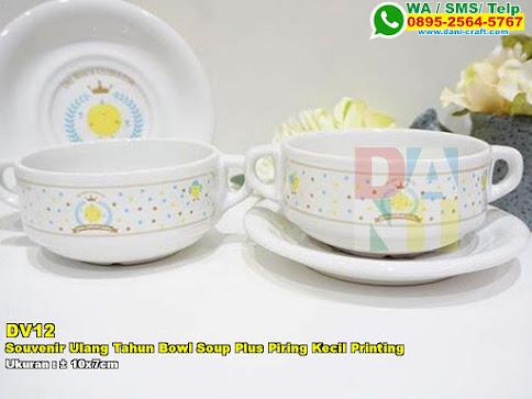 Souvenir Ulang Tahun Bowl Soup Plus Piring Kecil Printing
