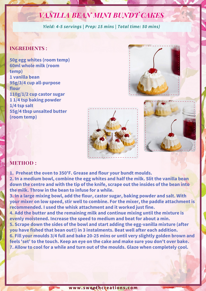 VANILLA BEAN MINI BUNDT CAKES RECIPE