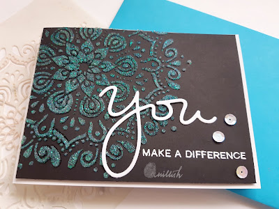 Craftangles, Everyday cards, Inspired by Loll, qullish, stenciling, Faber castell glass bead gel stenciling, glass bead gel card, encouragement card, card for you. Quillish, cards by ishani