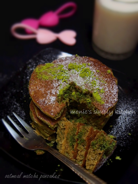 oatmeal matcha pancakes