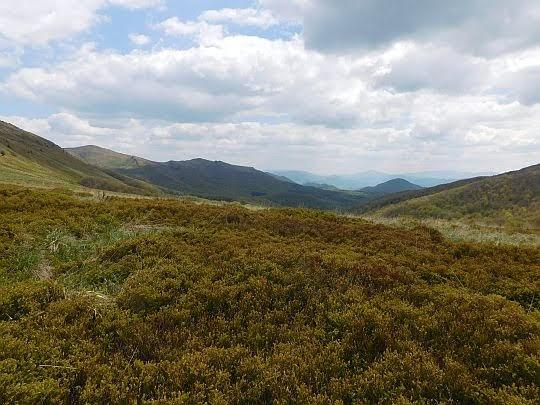 Widok z Przełęczy Goprowskiej na południowy wschód.