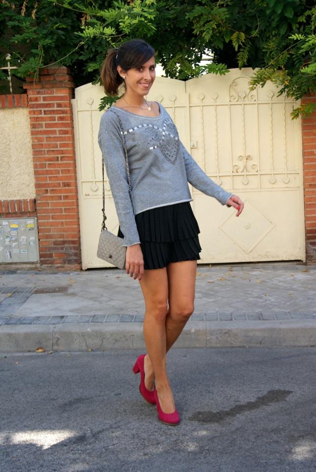 Grey Sweater & Skirt