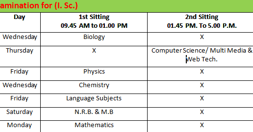 Time table Of 32 isc 2019 Pdf