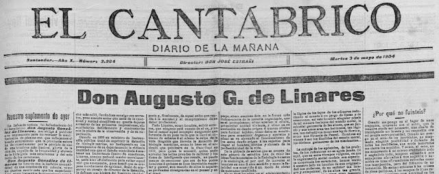 Fragmento de la portada de El Cantábrico donde aparece el escrito de Rosario de Acuña