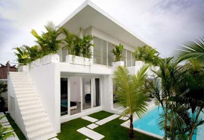 contoh elemen desain eksterior rumah tropis modern klasik