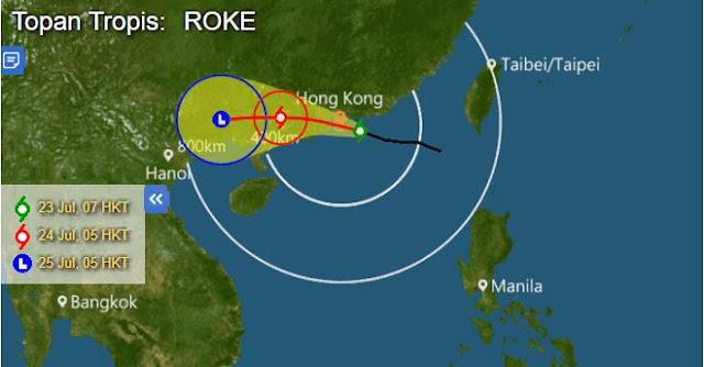 Hong Kong: Waspada Topan Roke Hari Ini