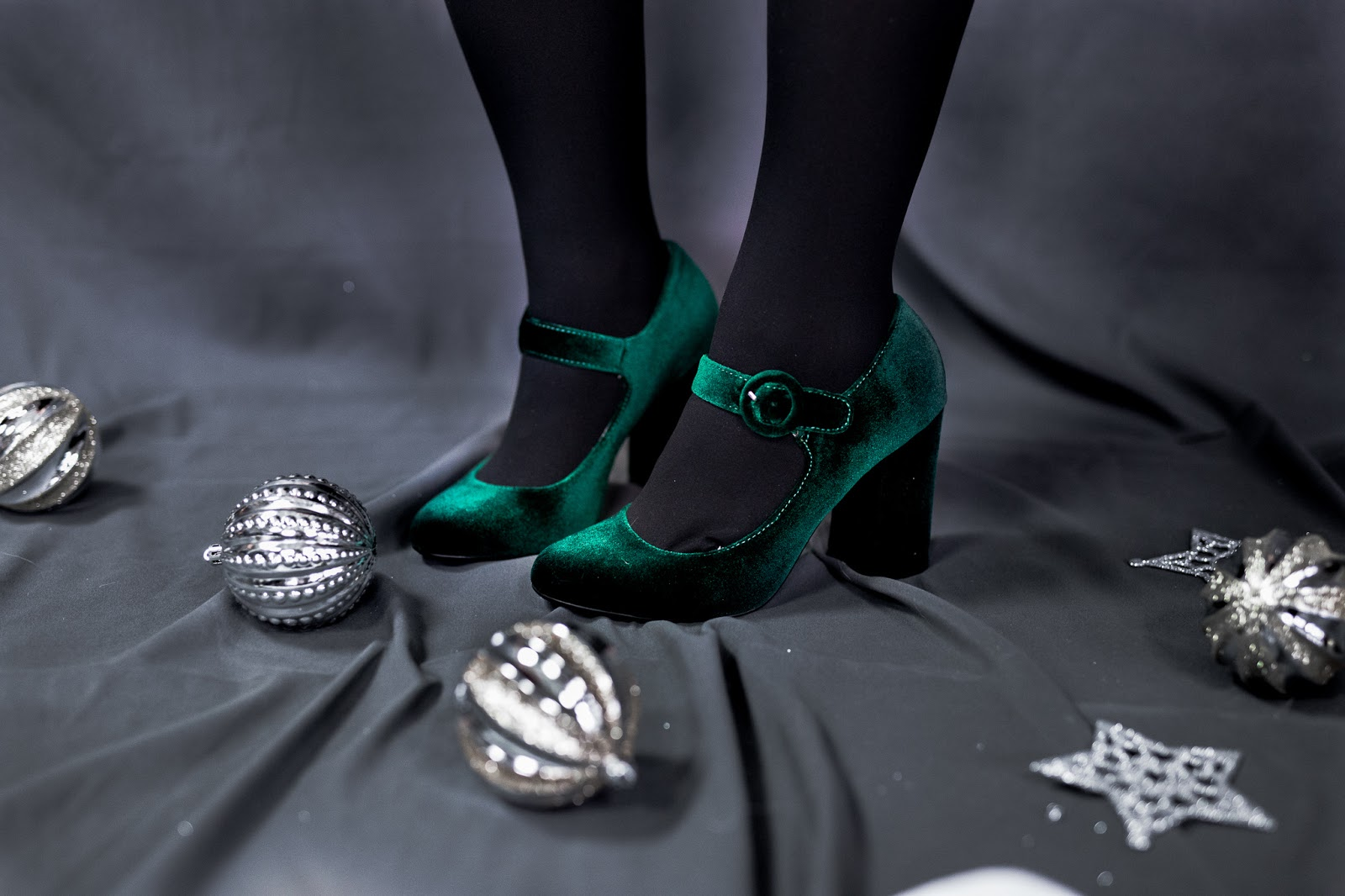 green velvet block heels