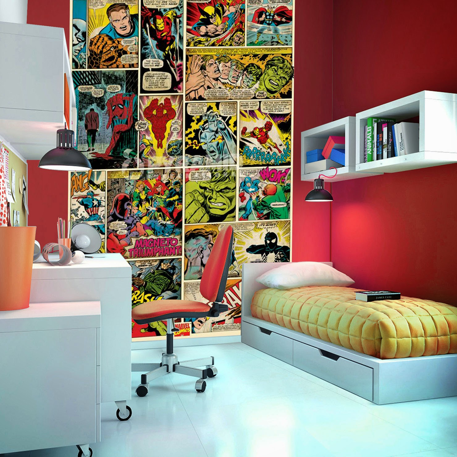 Habtaciones tema comics dormitorios colores y estilos for Comic book wallpaper mural